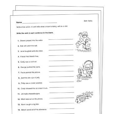 action verbs grade 2 collection printable leveled learning collections