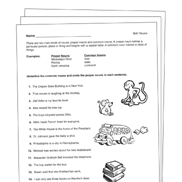 Common and Proper Nouns Grade 1 Collection | Printable Leveled ...